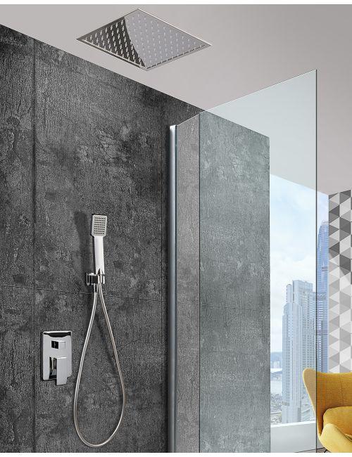 Conjunto de ducha empotrada techo rociador 40cm serie volga