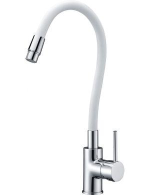 Grifo de cocina tubo flexible blanco mate serie viena