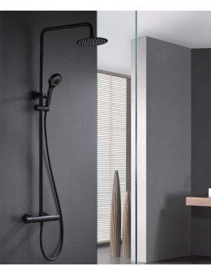 Barre de douche thermostatique noir mat série londres