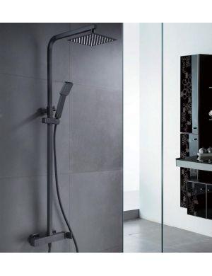 Barre de douche carrée noire mate serie Fiyi