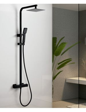 Barre de douche thermostatique noir mate serie vigo